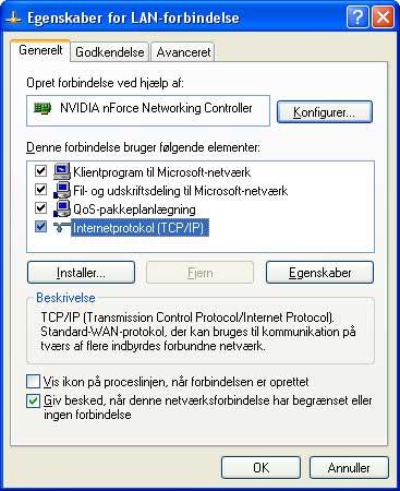 Egenskaber for LAN-forbindelse
